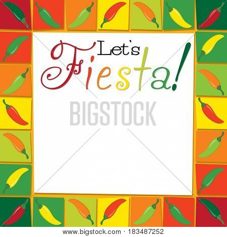 Funky Lets Fiesta card in vector format.