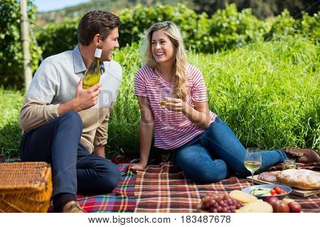 Happy couple holding winebottle and glass while sitting on picnic blanket
