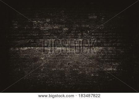 Vintage brick wall. Old grunge interior with brick wall