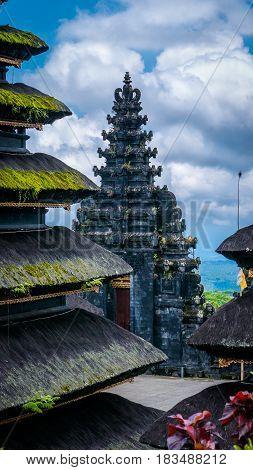 Roofs in Pura Besakih Temple in Bali Island, Indonesia.