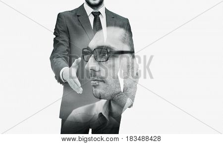 business, gesture, partnership, cooperation and people concept - businessman with open hand ready for handshake over city buildings and double exposure effect
