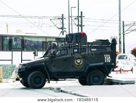 ISTANBUL, TURKEY - 1 APRIL , 2017:Turkish police on the streets of Istanbul during the military situation in the country