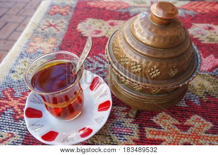 Turkish tea served in traditional Ottoman style