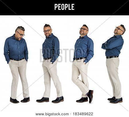 Adult Men Set Gesture Standing Studio Portrait Isolated
