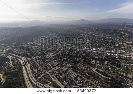 Aerial view of the Highland Park neighborhood in northeast Los Angeles California.
