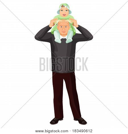 Grandfather with little girl on shoulders vector illustration isolated on white. Granddaughter with senior man, family relationships