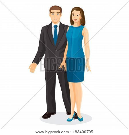 Elegant couple husband and wife vector illustration isolated on white. Man in expensive suit and woman in blue dress in cartoon style