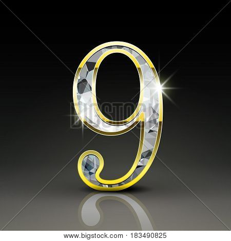 3D Gorgeous Diamond Number 9