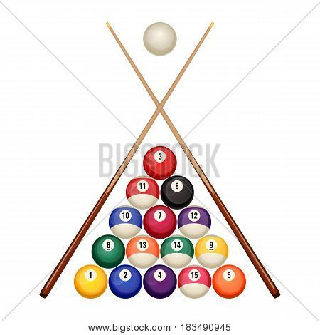 Pool billiard balls in starting position with two crossed wooden cues vector illustration isolated on white. Snooker game concept