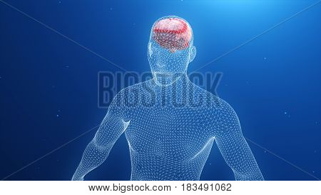 3D Model Of Man And Brain With Impaired Impulses