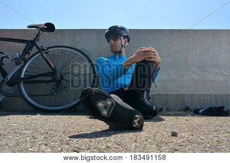 Cyclist Training On A Lonely Road