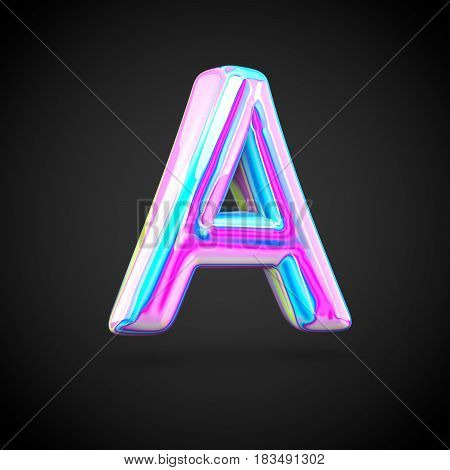 Glossy Holographic Alphabet Letter A Uppercase Isolated On Black Background.