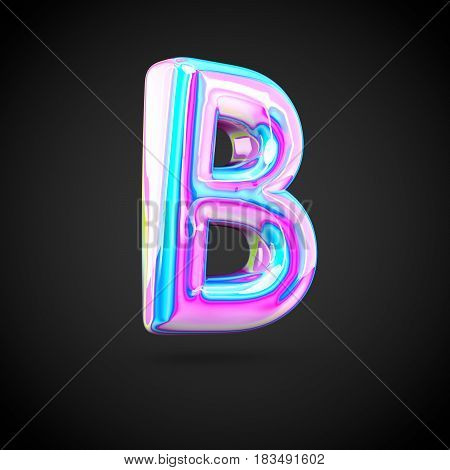 Glossy Holographic Alphabet Letter B Uppercase Isolated On Black Background.