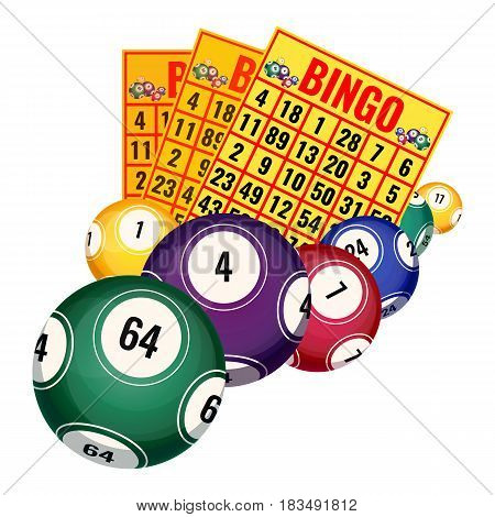 Bingo lottery tickets and balls icons realistic vector illustration isolated on white background. Elements for playing gambling games