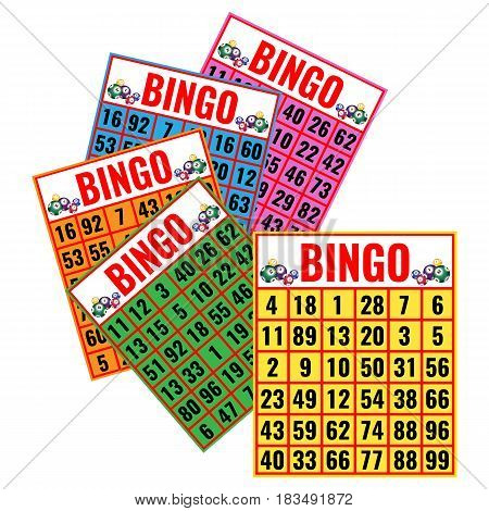 Bingo colorful cards vector illustration isolated on white. Lottery game tickets, logo design in gambling concept