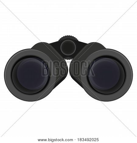 Black binoculars vector illustration isolated on white. Field glasses, two telescopes mounted side-by-side and aligned to point in same direction