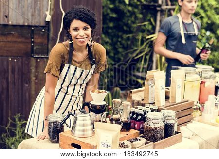 Woman with Coffee Fresh Brew Stall Shop