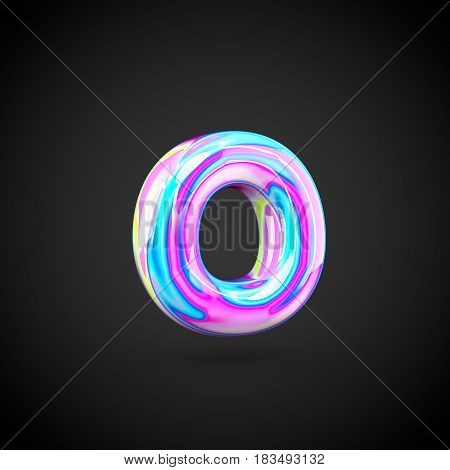 Glossy Holographic Alphabet Letter O Lowercase Isolated On Black Background.