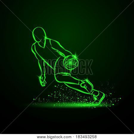 Basketball player dribbling with a ball at high speed. Vector green neon illustration.