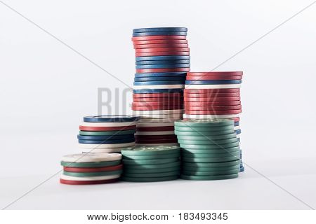 Poker Chips Isolated On White. Close Up