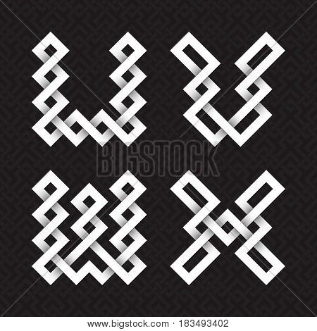 Font of interwoven strips. U, V, W, X white relief letters on a black patterned background.