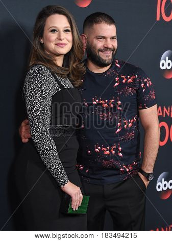 LOS ANGELES - APR 08:  Katie Lowes and Guillermo Diaz arrives to the