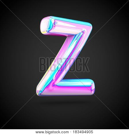 Glossy Holographic Alphabet Letter Z Uppercase Isolated On Black Background.