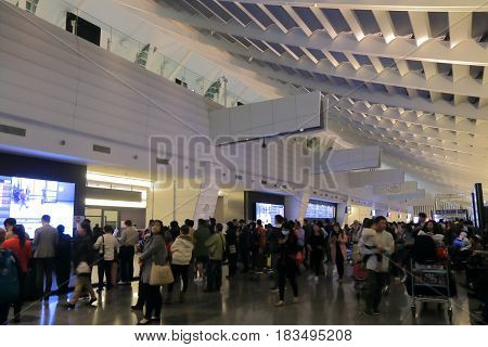 TAIPEI TAIWAN - DECEMBER 2, 2016: Unidentified people arrive at Taipei International airport.