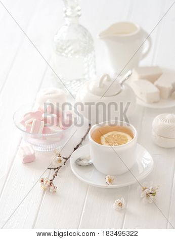 Wonderful and soft tea ceremony set with pink lovely flowers and marshmellow sweets