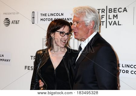 NEW YORK, NY - APRIL 24: Actor Richard Gere with guest  attends 'The Dinner' Premiere at BMCC Tribeca PAC on April 24, 2017 in New York City.