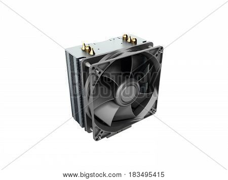 Active Cpu Cooler With The Aluminum Finned Heat-sink And The Fan 3D Render No Shadow