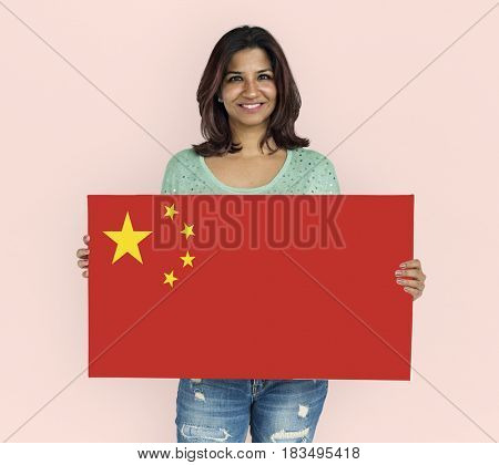 Woman Hands Hold China Flag Patriotism