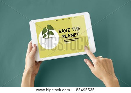 Hands on digital device with environmental graphic