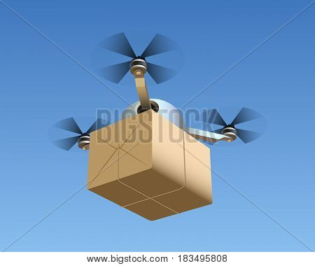 Illustration of a Drone with a Package