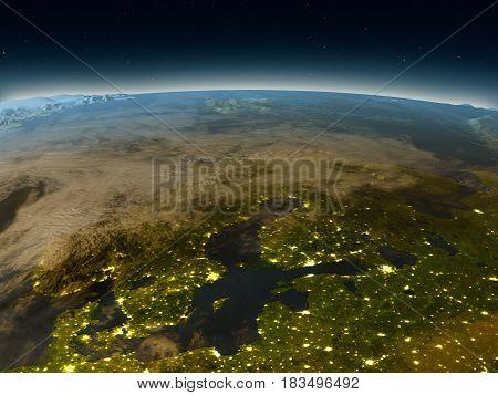 Scandinavian Peninsula From Space In The Evening