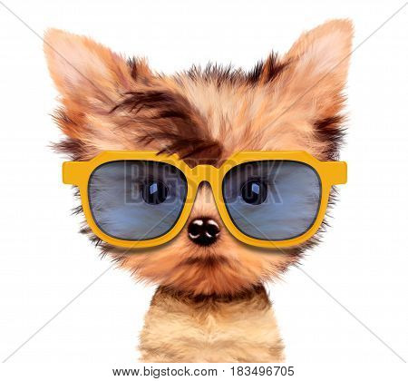 Funny adorable puppy with sunglasses, isolated on white. Realistic 3D illustration of yorkshire terrier with clipping path
