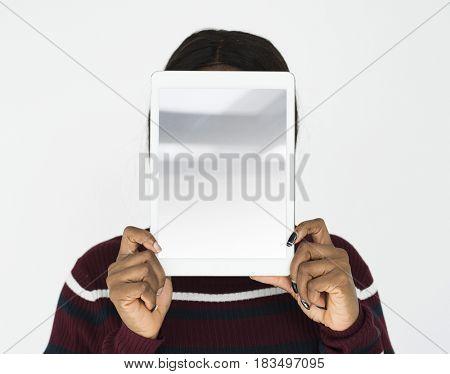 Person Holding Tablet Studio Portrait Concept