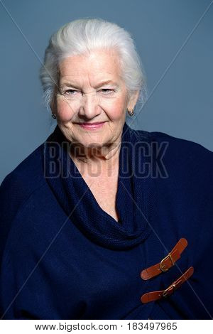 Portrait of a beautiful smiling old woman. Beautiful old age.