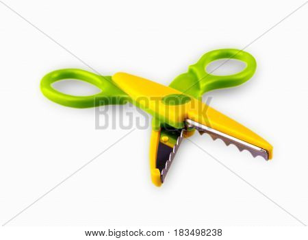 Colore opened baby scissors cut out on a white background