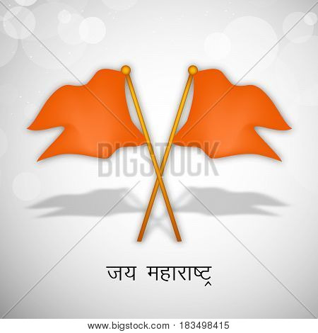illustration of flags of maharashtra state, India with hindi text jai maharashtra