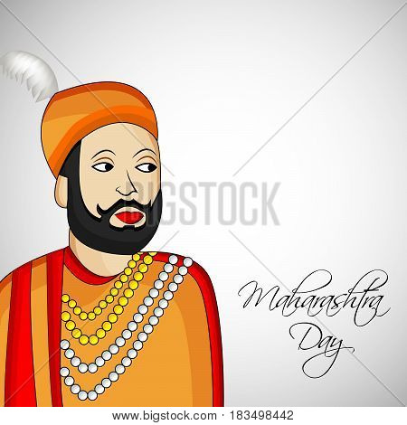 Illustration of king of maharashtra state, India with maharashtra day text