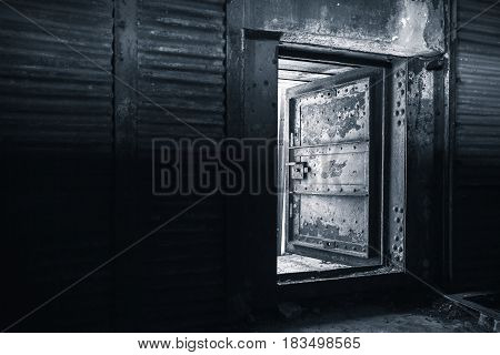 Interior With Metal Walls And Steel Door