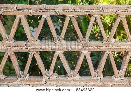 Old Railings Made Of Clay Blocks