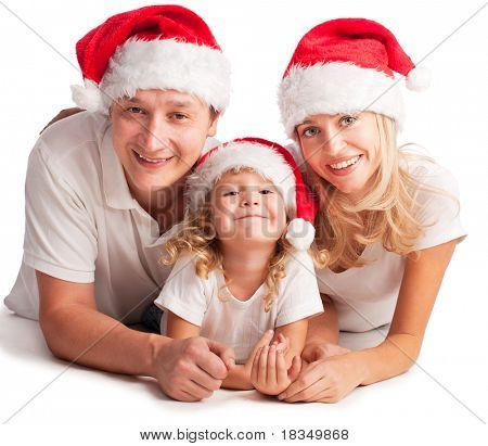 Happiness family in christmas hat isolated on white