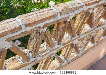 Old Balcony Railings Made Of Clay Blocks