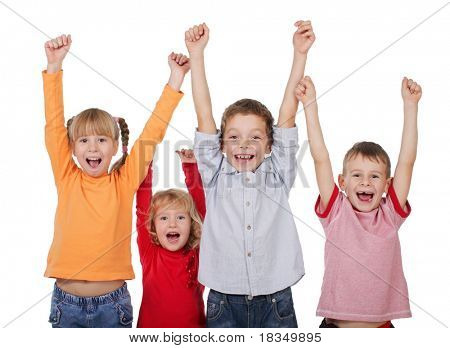 Happy kids with their hands up isolated on white