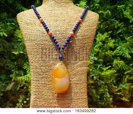 Precious Stone Necklace On Mannequin