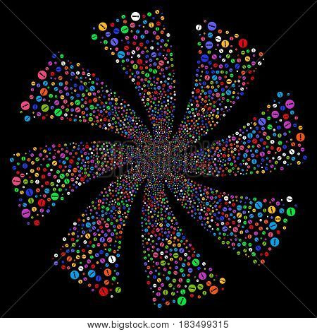 Info fireworks swirl rotation. Vector illustration style is flat bright multicolored iconic symbols on a black background. Object flower organized from random icons.
