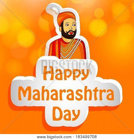 illustration of king of Maharashtra state, India with text maharashtra day