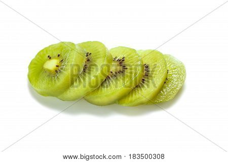 Healthy Food. Tropical Fruit. Sliced Kiwi. Kiwi. Still Life. Juicy Kiwi On White Background